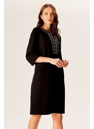 NaraMaxx Tüvit Garnili Penye Elbise Siyah